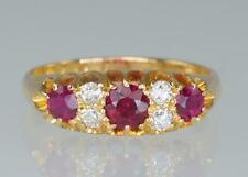 Antique 18ct Gold Ruby & Old Cut Diamond Edwardian Ring 18k Chester 1906