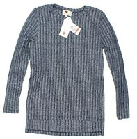 One Clothing Women Side-slit Rib-knit ToP PULLOVER Navy Xs