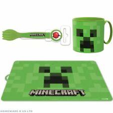 kid toddler children stor like minecraft dinning table set placemat mug cutlery