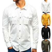 Fashion Men's Long Sleeve Lapel Shirts Tops Cotton Casual Multi-Pocket Shirt NEW