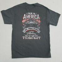 This Is America Own Guns Speak English Love Freedom Tough Sh!t T-Shirt Medium ZC