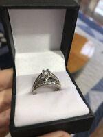 ZEI PLATINUM Princess Rnd Diamond Engagement Ring Wedding Band BRIDAL SET Sz 5.5