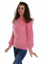 Pink Hand Made Knitted Mohair SWEATER Crewneck Fuzzy Soft Pullover by SSEu