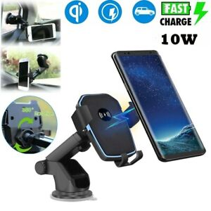 Qi Fast Wireless Car Charger Mount Holder For Samsung Galaxy S21 iPhone 13 12 XS