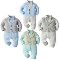Baby Boys Cotton Gentleman Outfits Romper Bodysuit Toddler Kids Formal Clothes