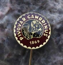 Gambrinus 10 degree Popular Czech Lager Beer Brewery Pin Badge Dark Red
