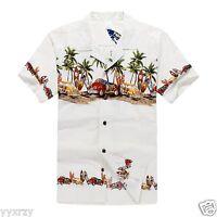 Men Aloha Shirt Cruise Tropical Luau Party Hawaiian White Vintage Cars Surf Palm