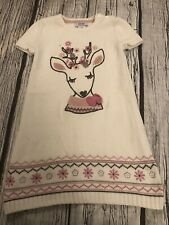 4-5 Years Girls Knitted Deer Dress Cream Miss Mona Mouse