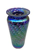 Stunning Glass Eye Studio Iridescent Pulled Feather Art Glass Vase Mt.St.Helens