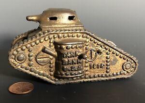 VINTAGE 1918 A. C. WILLIAMS CAST IRON U.S. TANK STILL BANK