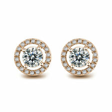 14K Rose Gold Post Crystal Clear Round Cut Brilliant CZ Stud Earrings