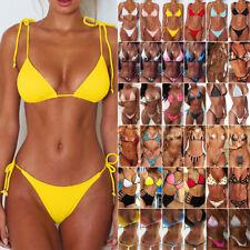 Womens Sexy Bikini Brazilian G-String Padded Bra Set Thong Swimwear Swimsuit US