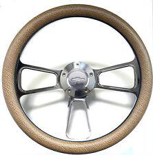 "1960 -1969 Chevy C10 C20 C30 Truck 14"" Tan Snakeskin & Billet Steering Wheel Kit"