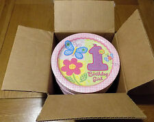 Box Of 96 Girls Hugs & stitches 1st Birthday Party Paper Plates 20cm