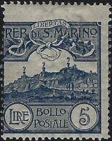 San Marino - 1903 - Cifra o vedute - Lire 5 ardesia - nuovo (MH) - n.45