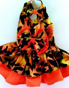 DOG DRESS/HARNESS  FALL LEAVES  WITH MATCHING HAIR BOW NEW  FREE SHIPPING