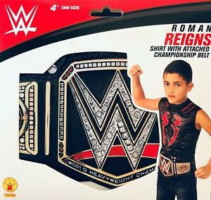 """WWE Kids Costume Top shirt """"ROMAN REIGNS"""" with attached championship belt"""