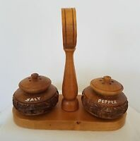 Wood Carved Salt And Pepper Shakers Holder Tropical Hawaii Hardwood Factory