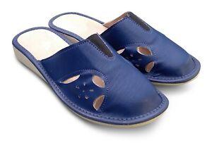 Damen LEDER Hausschuhe Pantoffeln Pantoletten Blau  Gr.37-41