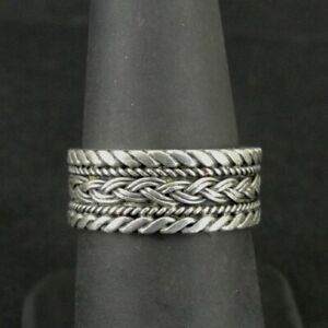 Ring Silver Braid and Twist Design wider Band Sterling 925 Size 7 Band Ring
