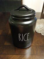 Rae Dunn RICE Large Letter Ceramic Canister New Black