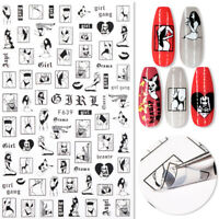 3D Nail Stickers Character Nail Art Decals Black White Design Tip Nails Decor