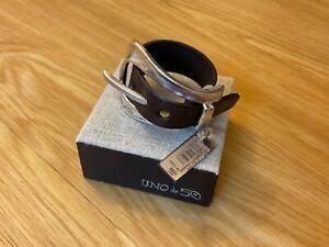 "NWT Uno de 50 Large Brown Leather Buckle Bracelet ""No Measure"""