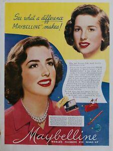 1949 Maybelline cake cream mascara eye shadow brow pencil cosmetic ad