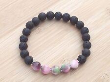 "Jade & Volcanic Lava Ladies/Gents Gemstone Diffuser 7.5"" Stretchy Bracelet"