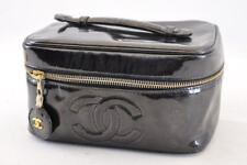 CHANEL Vernis Leather Vanity Cosmetic Pouch Bag CC Auth 3038