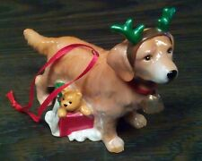 Porcelain Golden Retriever Holiday Ornament Dog Figurine Free Combined Shipping