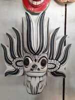 Asia Handmade Wall Mask Decor Sculpture Traditional Fire Devil Sri Lankan Wood