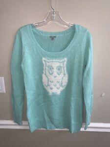 Charlotte Russe women's sweater Sz M mint White owl print long sleeve