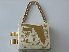 Vintage Florida Coin Purse Hard Case Lipstick Holder Metal Money Clip Mirror
