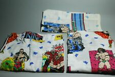 Vintage 90s WWF Titan Sports Twin Bedding Fitted Flat Sheet Set Wrestling 1991