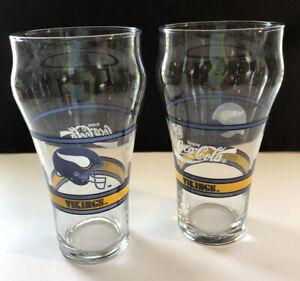 Coca-Cola Set of 2 Minnesota Vikings 6 Inch Glasses 1980's EC