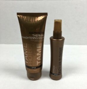 Brazilian Blowout Protective Thermal Straightening Balm 8oz & Dry Oil 3.4oz Lot