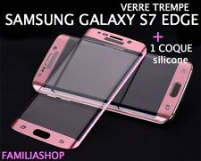 Tempered Glass Film Pink Integral Curved Samsung Galaxy S7 Edge+ Case