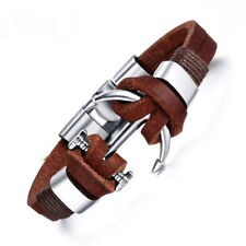 Herren Männer Armband Silber Braun Leder Edelstahl Anker Lederarmband Schmuck