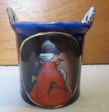 Toothpick Holder Porcelain Cobalt Blue English Horseman / Rider Vintage