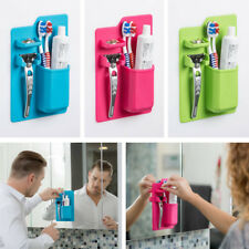 Toothbrush Holder Wall Mount Stand Home Bathroom Toothpaste Razor Soft Silicone