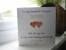 Handmade Personalised Golden 50th Wedding Anniversary Card Husband Wife Couple