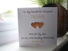 Handmade Personalised Golden 50th Wedding Anniversary Card Husband Wife Couple