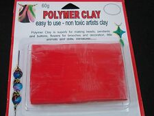 Modelling Polymer Clay Art/Craft Oven Bake 60g Red Hobby Art Bead FREE POSTAGE