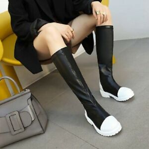 Womens Mixed Colors Round Toe Knee High Riding Boots Casual Flat Outddor Shoes