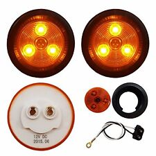 "2 PACK of AMBER LED 2"" ROUND CLEARANCE / MARKER LIGHTS TRAILER RV FREE SHIP"