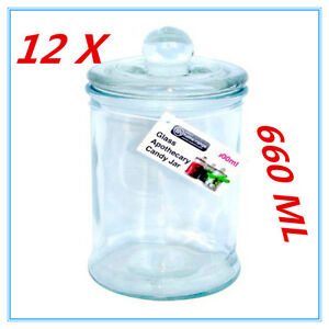 12X Glass Apothecary Candy Lolly Buffet Jar Candle Waxing Wedding Party 660ML AP