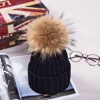2019 Winter Hat Real Raccoon Fur Pom Pom Bobble Women Knit Beanie Christmas Gift