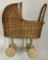 Wicker Baby Doll Carriage Stroller Buggy w/ Wood Wheels (No Brand,
