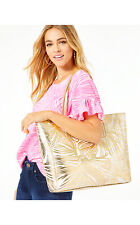 NEW Lilly Pulitzer SURREY REVERSIBLE TOTE Gold Metallic Fronds Place Bag
